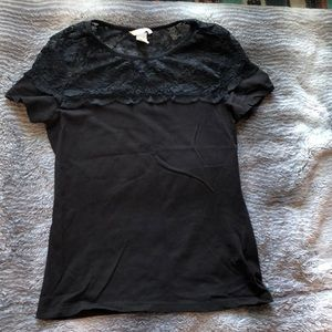 H&M black lace blouse